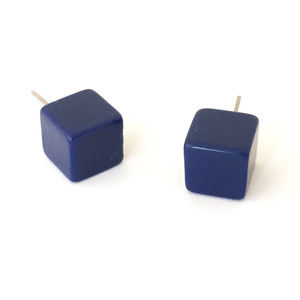 Navy Blue Square Cube Vintage Lucite Post Earrings